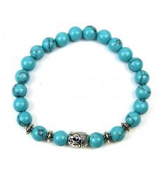 Bracelet en Howlite bleue + perle Bouddha