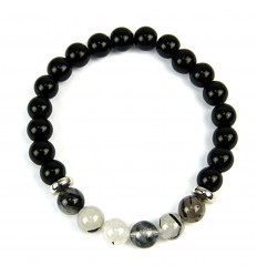 Bracelet black Onyx & Quartz rutilé natural
