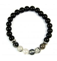 Bracelet en Onyx noir & Quartz rutilé naturels. Livraison gratuite.
