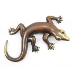 Salamander / Geco bronzo 23cm. Statua animale arredamento vintage.