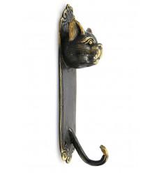 Patère murale chat en bronze, porte manteau objet déco chat original.