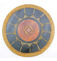 Set of table, bali round wood exotic ethnic chic. Below flat.