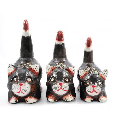 3 Statuettes chat chaton, décoration chambre enfant naïf pas cher.