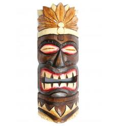 Masque Tiki h30cm en bois motif plumes. Déco tribale polynésienne.