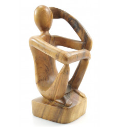 "Bottle holder - Display wine bottle ""Thinker"" wood finishing wax in natural."