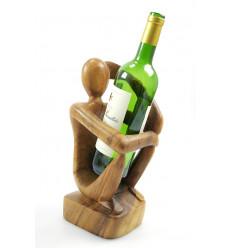 """Espositore per bottiglie di vino, il """"Pensatore"""" - finitura in legno tinta ebano."""