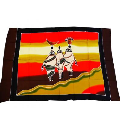 Tenture murale africaine massaï batik, textile décoration africain.