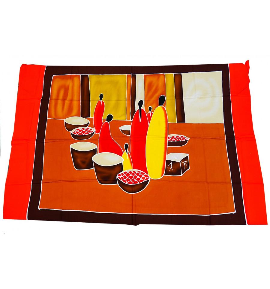 tenture murale africaine batik par o tissu d co. Black Bedroom Furniture Sets. Home Design Ideas