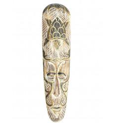 Masque africain bois blanchi tortue, pour décorer un mur de couleur.