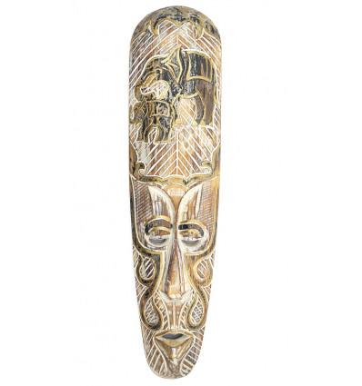 Masque mural en bois blanchi motif éléphant, déco africaine moderne.