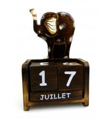 Calendario perpetuo in legno elefante - Idea regalo bambino.