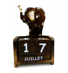 Perpetual calendar wooden elephant - gift Idea child.