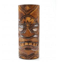 Totem Tiki en bois. Trophée statuette ethnique fait main maori.
