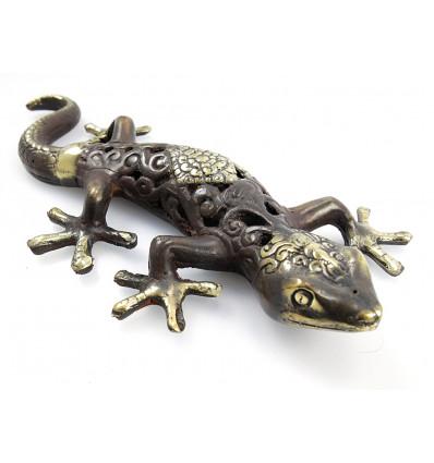 Statue déco salamandre gecko margouillat bronze. Artisanat du monde.