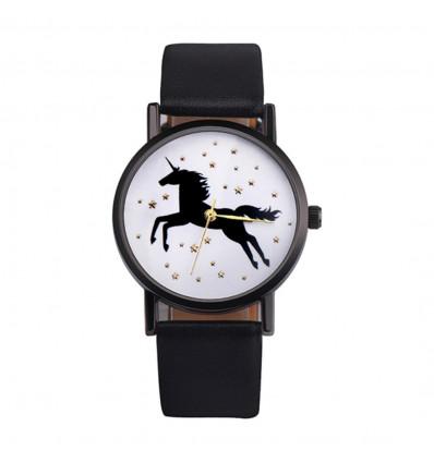 Watch woman pattern unicorn, black strap. Delivery France Free !