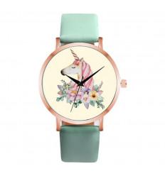 Montre femme motif licorne, bracelet vert. Livraison France Gratuite !
