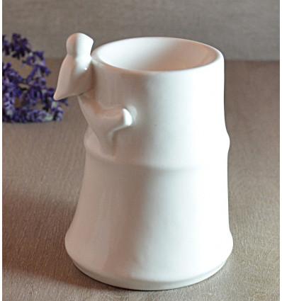 Brule parfum diffuseur bambou oiseau ceramique blanche pas cher.