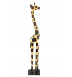 Statue girafe debout en bois, achat déco girafe africaine originale.