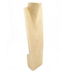 Présentoir spécial colliers longs H60cm buste en bois exotique brut