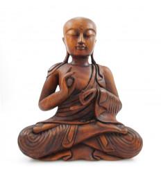 Statua monaco buddista di shaolin scultura in legno di artigianato, Asia.