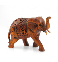 Figurine indian elephant wooden H10cm - wrong in the air.