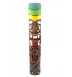 Totem Tiki, che tira la lingua XXL: 100cm legno massello intagliato. Decorazione Maori.