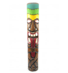 Totem Tiki, which pulls the tongue XXL 100cm solid wood carved. Decoration Maori.