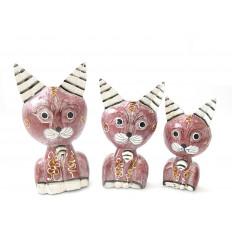 3 statuine di gatti carino in legno, deco ragazza.