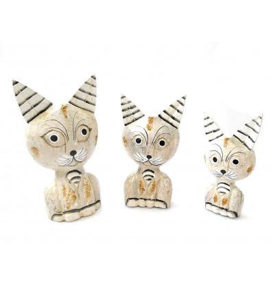 Statuettes bibelots chats en bois, décoration famille chat, cadeau.