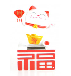 Maneki Neko solare / Gatto giapponese bianchi fortunato