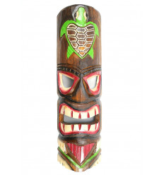 Maschera Tiki h30cm modello in legno Tartaruga. Decorazione Hawaii.