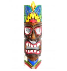 Masque Tiki h50cm en bois motif coloré. Décoration Hawaï Maori !