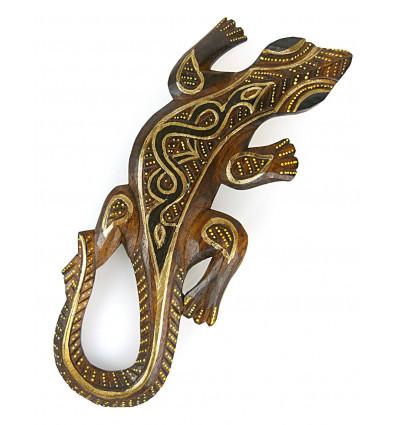 salamandre motif tribal peint à la main, petite déco murale pas cher.