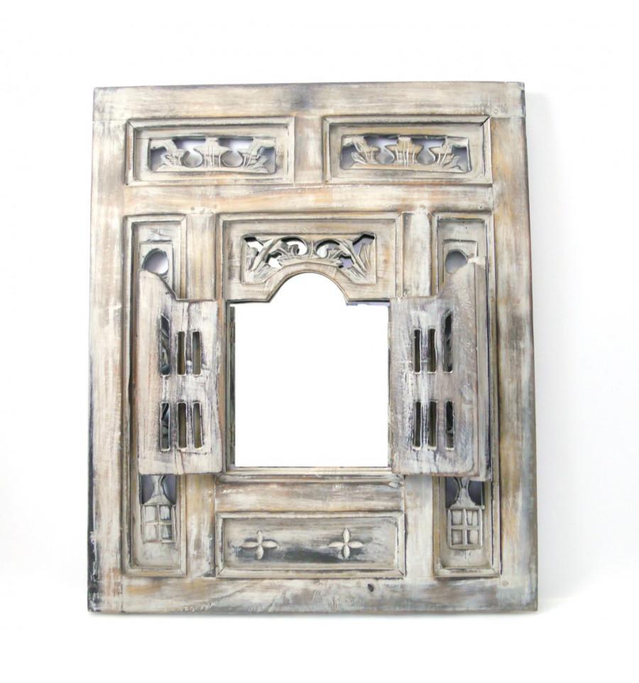 Miroir Oriental Bois Avec Fenêtre Et Volets Moucharabieh Ethnique