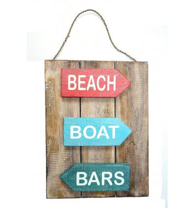 Panel, decoration wall plate, wooden door, beach style ocean sea.