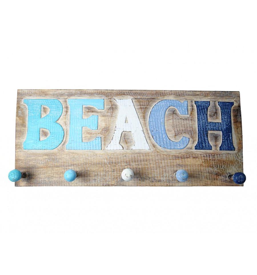 porte manteau mural pat re crochets bois d co marine oc an plage. Black Bedroom Furniture Sets. Home Design Ideas