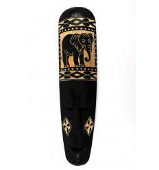 Maschera africana 50 cm nero legno inciso modello elefante