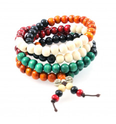 Bracelet Tibetan Mala wooden beads multicolor 8mm + node without end.
