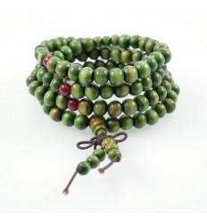Bracelet Tibétain, Mala en perles de bois 8mm + noeud sans fin. Coloris vert