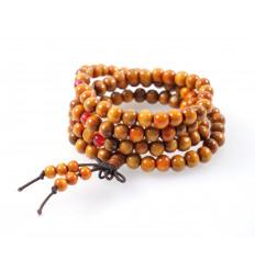 Bracelet Tibetan Mala beads wood 8mm + node without end. Colours camel