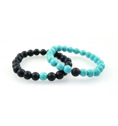 Bracelets de distance / couples - Agate noire et Howlite turquoise - Livraison offerte !!!