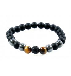 Bracelet mixte multipierres : Agate noire, Hématite, Oeil du Tigre et Pierre de Lave