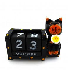 Piccolo calendario perpetuo, il gatto e fiori in legno dipinto a mano.