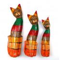 Trio di statuette di gufo / civetta nel legno. Stile Antico.