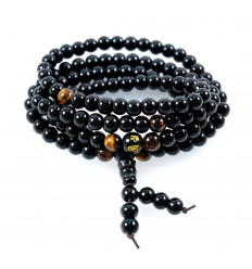 Mala anchorage and stability - black Agate and tiger eye