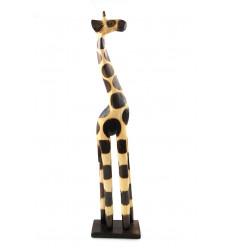 Statue girafe bois décoration africaine maison du monde pas cher.