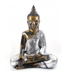 Statua di Buddha seduto in meditazione h30cm resina effetto satinato.