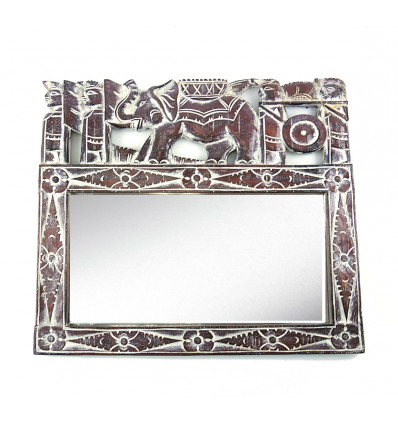 Wall mirror ethnic balinese motif elephant. Balinese decor.