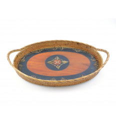 Oval platter in rattan with handles. Deco table ethnic chic.