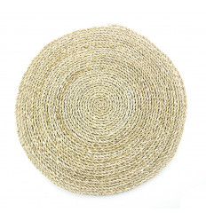 Placemat round seagrass, natural, decorative table eco-friendly.